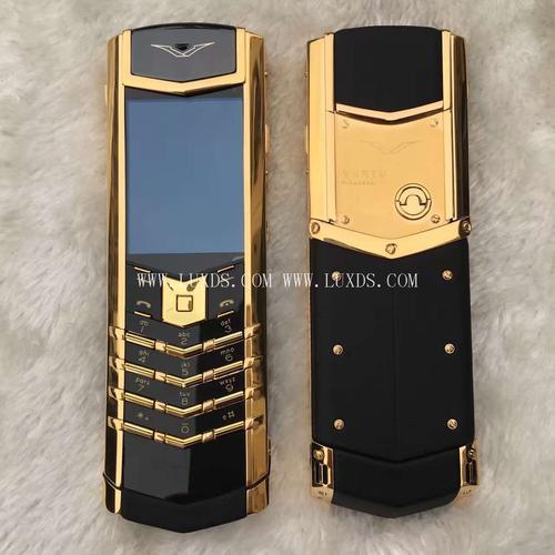 Vertu Signature Yellow Gold Black Leather