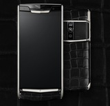 Vertu New Signature Touch Silver Black Crocodile Leather