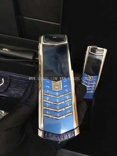 Vertu Signature S Silver Blue Crocodile Leather