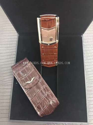 Vertu Signature Rose Gold Brown Crocodile Leather